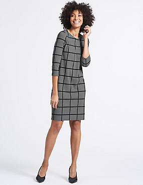 Checked 3/4 Sleeve Tunic Dress, GREY MIX, catlanding