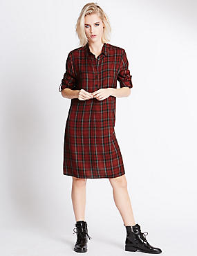 Loose Fit Checked Shirt, RED MIX, catlanding