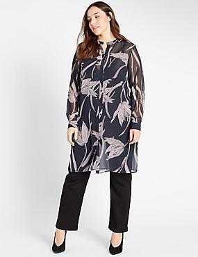 PLUS Lily Print Long Sleeve Shirt, BLACK MIX, catlanding