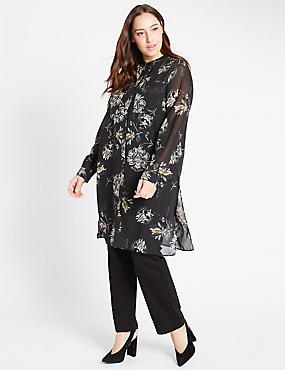 PLUS Paisley Print Longline Shirt, BLACK MIX, catlanding
