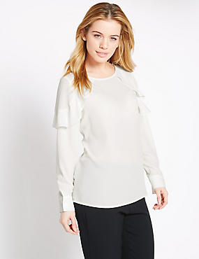 PETITE Long Sleeve Ruffle Blouse, IVORY MIX, catlanding