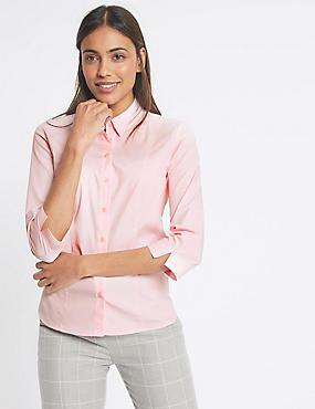Cotton Rich Split 3/4 Sleeve Shirt, PINK, catlanding