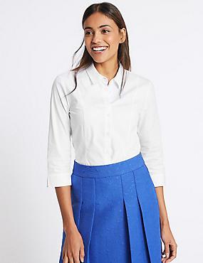 Cotton Rich Split 3/4 Sleeve Shirt, WHITE, catlanding