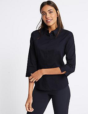 Cotton Rich Spotted Split 3/4 Sleeve Shirt, NAVY MIX, catlanding