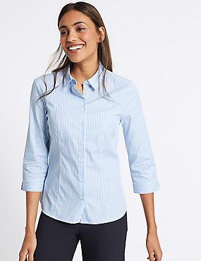 Cotton Rich Striped 3/4 Sleeve Shirt, BLUE MIX, catlanding