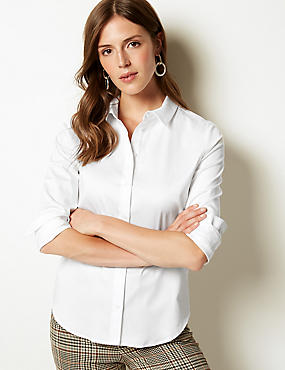Cotton Rich Stretch Perfect Shirt, WHITE, catlanding