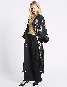 Floral Print Long Sleeve Kimono, BLACK MIX, catlanding