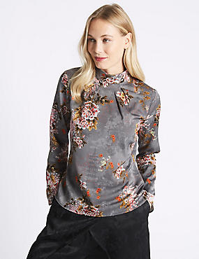 Printed Turtle Neck Long Sleeve Blouse, GREY MIX, catlanding