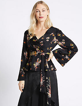 Floral V-Neck Long Sleeve Kimono Top, BLACK MIX, catlanding