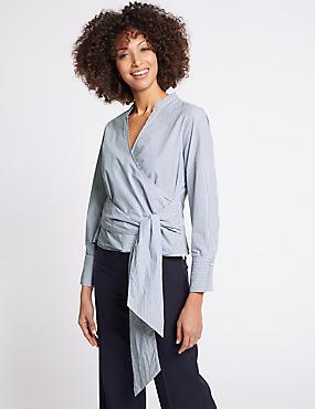 Pure Cotton Striped Long Sleeve Wrap Blouse, BLUE MIX, catlanding
