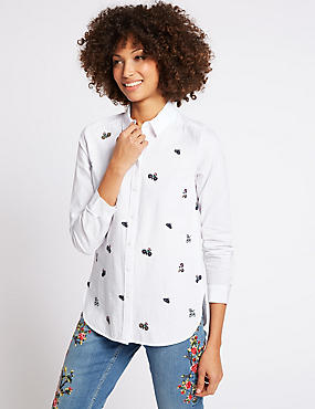 Pure Cotton Embroidered Long Sleeve Shirt, SOFT WHITE, catlanding