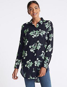 Floral Print Longline Long Sleeve Shirt, NAVY, catlanding
