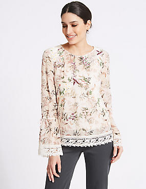 Floral Print Mesh Lace Long Sleeve Blouse, MULTI, catlanding