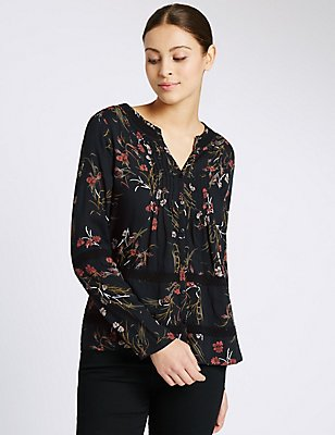 Floral Print Notch Neck Long Sleeve Blouse, BLACK MIX, catlanding