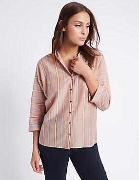 Cotton Silk Split back Shirt, KHAKI MIX, catlanding