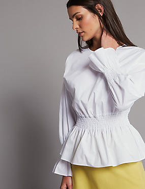 Pure Cotton Ruched Long Sleeve Blouse, SOFT WHITE, catlanding