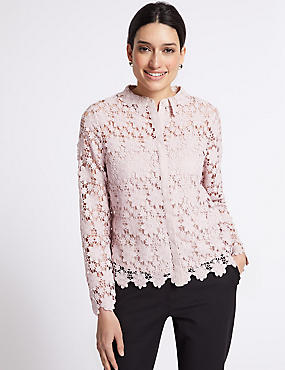 Daisy Lace Long Sleeve Blouse, PALE PINK, catlanding