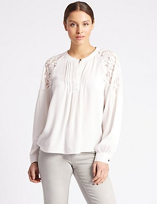 Dobby Lace Pleated Long Sleeve Blouse, IVORY, catlanding