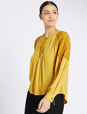 Dobby Lace Long Sleeve Blouse, , catlanding