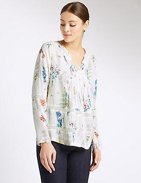 Floral Print Notch Neck Long Sleeve Blouse , IVORY MIX, catlanding