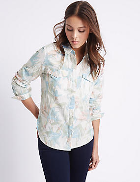 Linen Blend Floral Print Long Sleeve Shirt, PINK MIX, catlanding