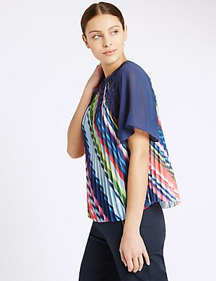 Striped Short Sleeve Shell Top, MULTI, catlanding