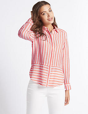 Linen Rich Contrasting Striped Shirt, CORAL MIX, catlanding