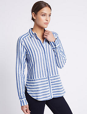 Linen Rich Contrasting Striped Shirt, BLUE MIX, catlanding