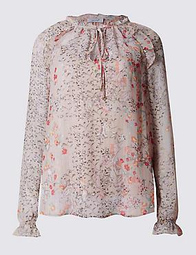 Floral Print Notch Neck Blouse, PINK MIX, catlanding