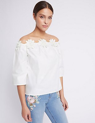 Pure Cotton Floral Bardot Shell Top, WHITE, catlanding