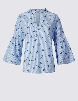 Блузка в полоску из чистого хлопка с рукавом 3/4 Per Una T431026U
