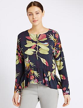 Tropical Print Peplum Long Sleeve Blouse, NAVY MIX, catlanding
