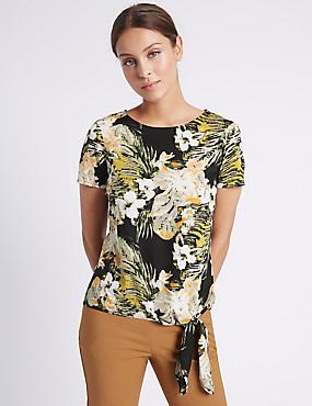 Floral Print Short Sleeve Shell Top, MULTI, catlanding