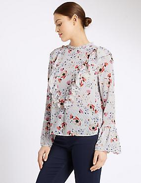 Floral Print Long Sleeve Blouse, IVORY MIX, catlanding