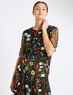 Floral Embroidered Half Sleeve Shell Top, BLACK MIX, catlanding