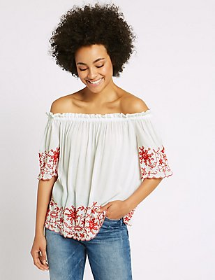 Embroidered 3/4 Sleeve Bardot Top, WHITE MIX, catlanding