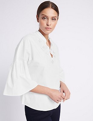 Pure Cotton Embellished Blouse, WHITE, catlanding