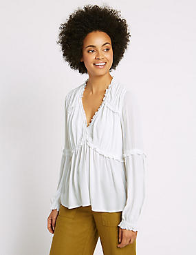 Crinkle Ruffle V-Neck Long Sleeve Blouse, SOFT WHITE, catlanding
