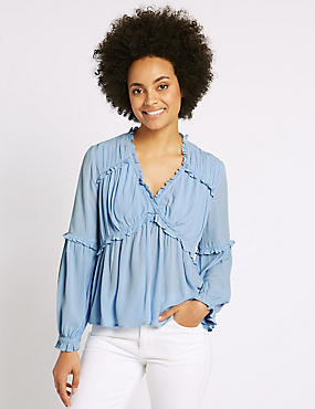 Crinkle Ruffle V-Neck Long Sleeve Blouse, CHAMBRAY, catlanding