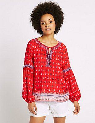 Pure Modal Printed Long Sleeve Blouse, RED MIX, catlanding