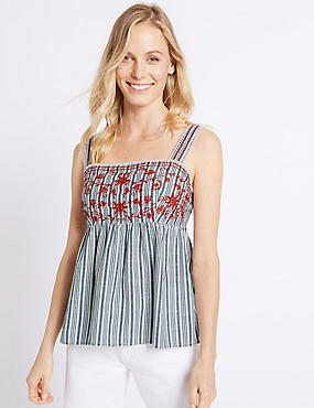 Pure Cotton Striped Embroidered Vest Top , IVORY MIX, catlanding