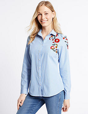 Cotton Rich Striped Embroidered Shirt, MULTI, catlanding