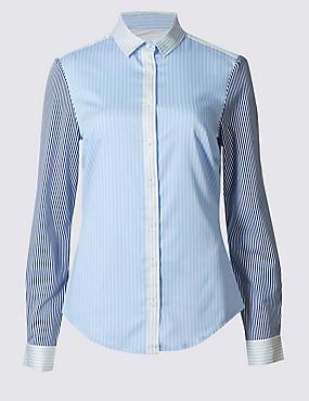 Cotton Rich Striped Fuller Bust Shirt, BLUE MIX, catlanding