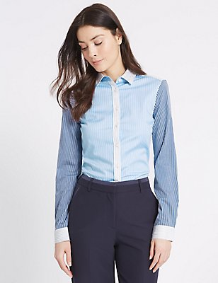 Cotton Rich Contrasting Sleeve Shirt, BLUE MIX, catlanding