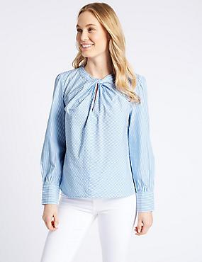 Pure Cotton Striped Twist Front Blouse, BLUE MIX, catlanding
