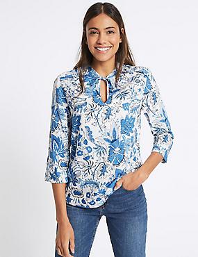 Floral Print Notch Neck ¾ Sleeve Blouse, BLUE MIX, catlanding