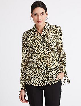 Animal Print Ruffle Long Sleeve Shirt, BLACK MIX, catlanding