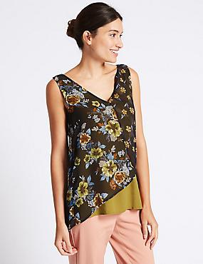 Floral Print Block V-Neck Vest Top, NAVY MIX, catlanding