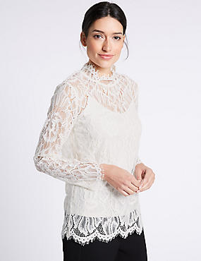 Cotton Blend Lace Long Sleeve Blouse, CREAM, catlanding