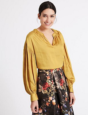 Gathered Bubble Sleeve Notch Neck Blouse, OCHRE, catlanding